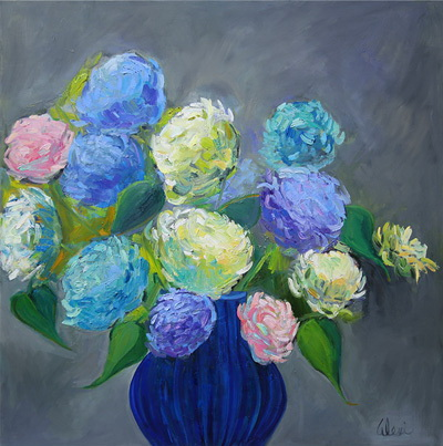 Blooms And Blue Vase 36x36