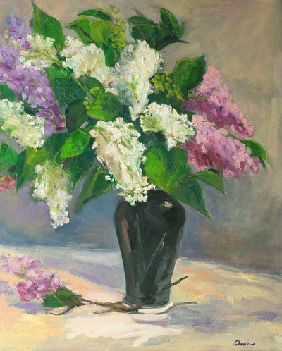 Lilacs In Black Vase 24x30