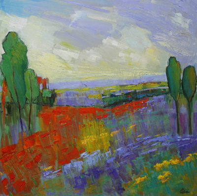 Poppy Field Valley 36x36
