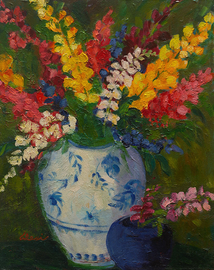 Snapdragons In Porcelain Vase 16 X 20